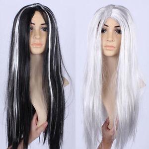 Women Long Black White Wig Adult Hair Halloween Cosplay Costume Wig ... 401b22b9ad