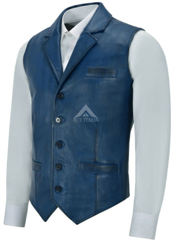 vera gilet Casual blu uomo 1349 Fashion Business Party pelle in Gilet Napa 7AxEnHx