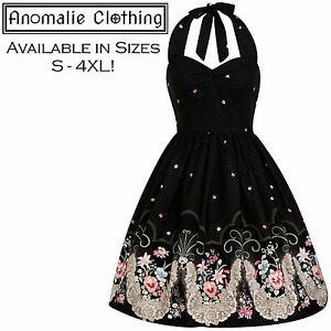8717dabbd2588 Details about Black and Pink Viola Dress - 1950s Vintage Pinup Retro  Rockabilly Gothic Lolita