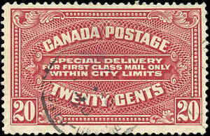 1922-Used-Canada-20c-F-Scott-E2-Special-Delivery-Stamp