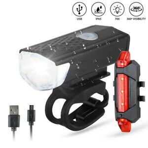 MTB Bike Bicycle Cycling USB Rechargeable LED Head Front Light//Rear Tail Lamp