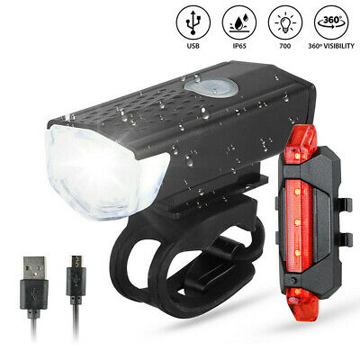 USB Rechargeable LED Bike Bicycle Cycling Front Rear Tail Light Headlight Lamp~~