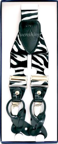 New in box Men/'s Suspender Zebra black white elastic braces clips buttons