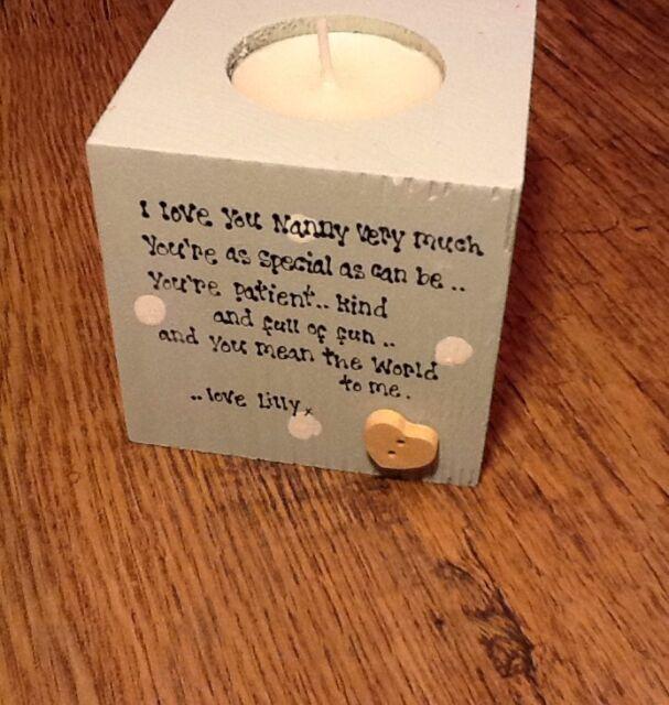 Shabby Personalised Chic Nanny Nana Nanna Nan Granny Grandma Gran Candle Gift..