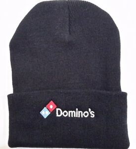 52fba179d Details about DOMINO'S Black Knit Beanie Winter Hat Toque Skull Cap Cuffed  100% ACRYLIC