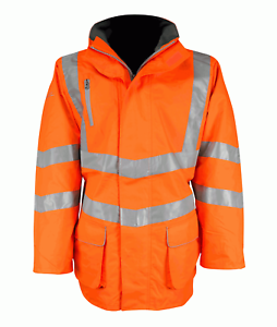 Pro Rail Sabre 2 Orange Hivis Coat Jacket HVRJ Size XL