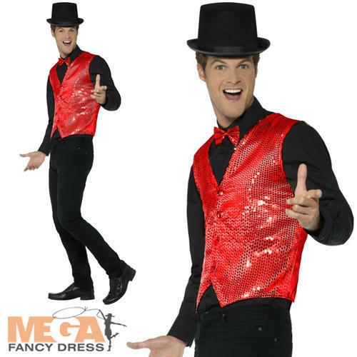 Red Sequin Waistcoat Adults Fancy Dress Disco Jacket Cabaret Costume Accessory