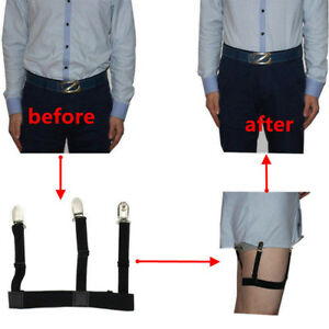 1-Pair-Men-039-s-Shirt-Stays-Holders-Elastic-Garter-Belt-Suspender-Locking-Clamps