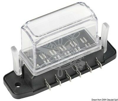 Osculati Standard Blade Fuse Holder Box with 6 Fuse Housings and Contacts