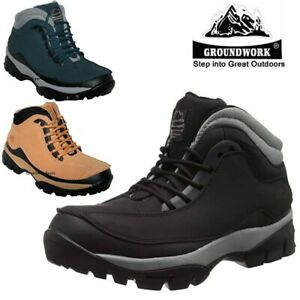 MENS LEATHER LADIES NAVY STEEL TOE CAP SAFETY WORK TRAINERS SHOES BOOTS SZ 4-14