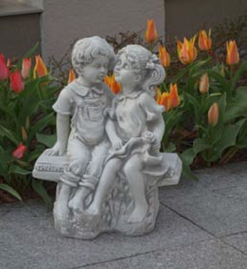 Kinderpaar auf Bank (S101173) Kinder Gartenfiguren Statuen Deko Steinguss 40 40 40 cm 39b627