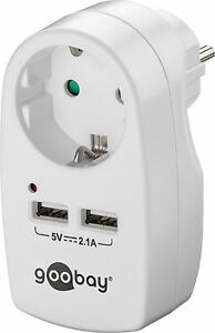 Steckdosen Adapter USB Ladegerät 2x USB Buchse 2,1A Schutzkontakt SteckerBuchse