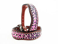 14 Pink Gator Austrian Crystals Western Style Leather Silver Canine Dog Collar