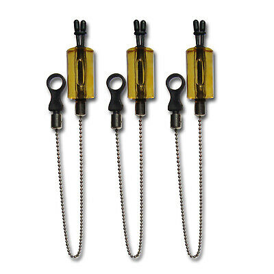 3 X RED LIGHT WEIGHT CARP BOBBINS HANGERS INDICATORS WITH CHAINS /& HOCKEY/'S