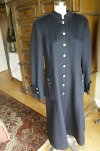 ANN-TAYLOR-LOFT-Navy-Wool-Blend-Full-Length-Military-Style-Coat-Size-12