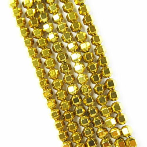 4x4mm Faceted Gold Hematite Drum Pendant Loose Bead 15.5 inch 1Strand A-416TS