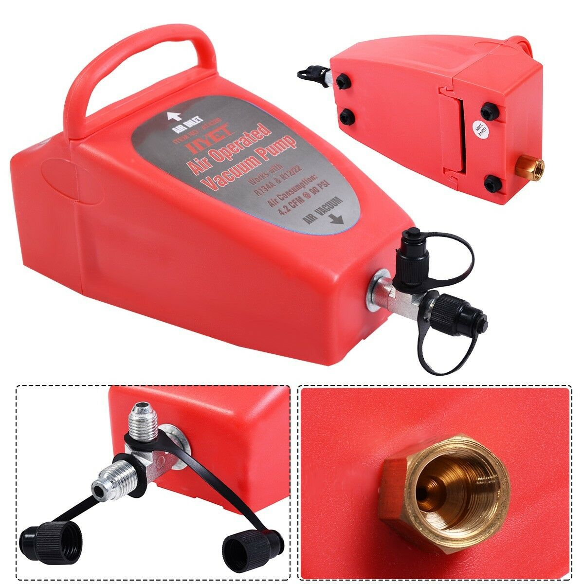 Pneumatic 4.2CFM Air Operated Vacuum Pump A/C Air Conditioning System Tool US 3