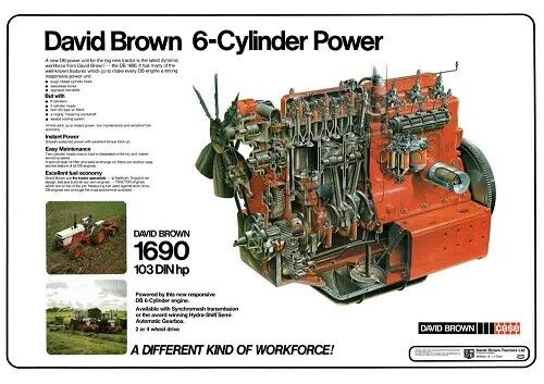 David Brown Case Tractor Poster 1690 Engine Cutaway 1594 1694 IH Meltham A3