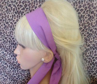 NEW PLAIN DEEP LAVENDER PURPLE FABRIC HEAD SCARF HAIR BAND SELF TIE BOW 50s 60s