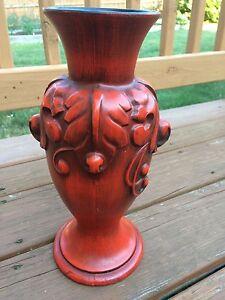 """Vtg Haeger USA Vase Red & Black Pottery Ornate 12"""" Tall Valentine's Day Heager"""