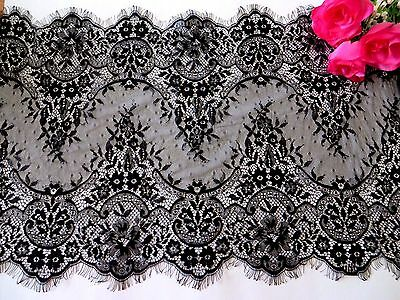 Black Eyelash Lace Trim Bridal Evening Tutu 40 cm wide #6BK51B