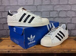 9d511ef9550bd ADIDAS LADIES UK 5 EUR 38 SUPERSTAR 80S WHITE SNAKESKIN TRAINERS   eBay