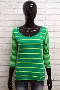 Maglia-HOLLISTER-Donna-Taglia-S-Maglietta-Shirt-Woman-Cotone-a-Righe-Manica-3-4