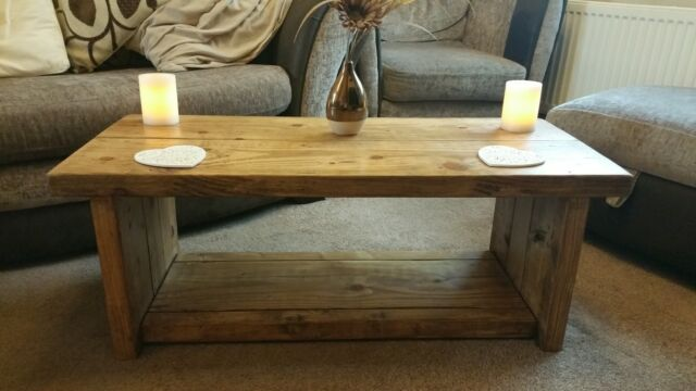 Hand Made Solid Wood Rustic Chunky Coffee Tabletv Unit Oak Effect