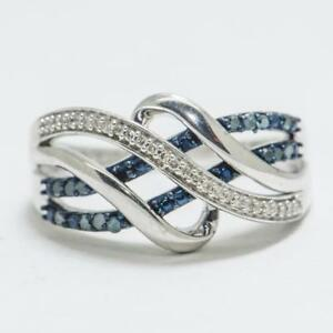 42ctw-Natural-Fancy-Blue-amp-White-Diamond-Sterling-Silver-Cocktail-Ring-Sz-7