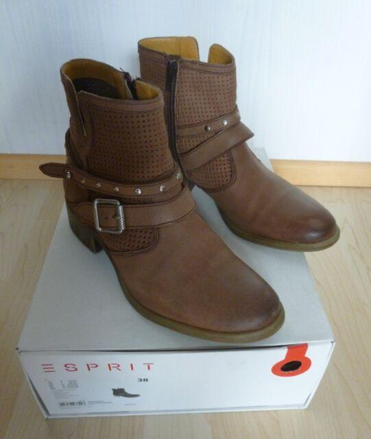 ESPRIT DAMEN STIEFELETTEN Stiefel Boots Leder Gr.38 EUR 27