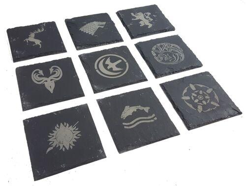 Juego De Tronos inspirado grabado Casa símbolos-Posavasos de Pizarra-Paquete de 9