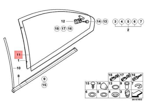 For BMW E46 325Ci Weatherstrip-Quarter Window Surrounding Gasket Black Genuine