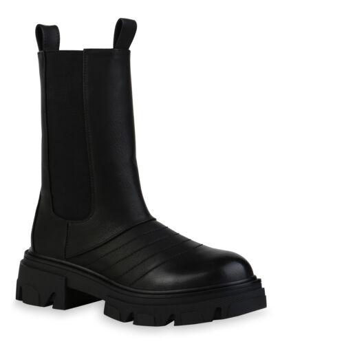Damen Stiefeletten Plateau Stiefel Boots Profil-Sohle Schuhe 835572 Trendy