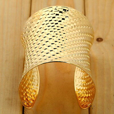 Hot Women Jewelry Gold Plated Bracelet Carved Cuff Metal Bangle Wide Bracelet