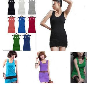 Summer-Candy-Lady-Sleeveless-Long-Tank-Vest-Shirt-Tops-Mini-Dress-Sexy-10-Colors