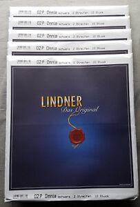 50x-Lindner-OMNIA-02P-FOGLIO-INSERIMENTO-mit-2-Stripes-140-mm-Nero-NUOVO