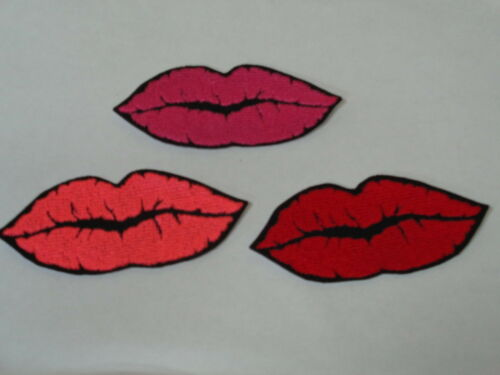 """MANY COLORS! /""""Lips// Kisses// Smooches// Love/"""" Iron-On Embroidered Patches"""