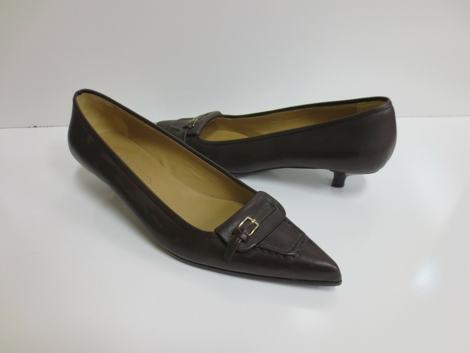 JIL SANDER Braun Leder Buckle Strap Pumps Schuhes 39 MINT CONDITION