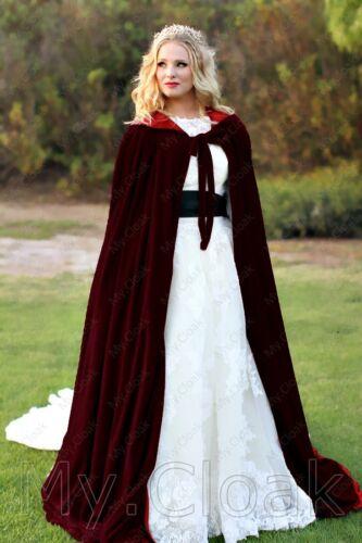 Burgundy Velvet Cloak Lined Red Wedding Cape Wicca LOTR Gandalf Star Wars S-6XL