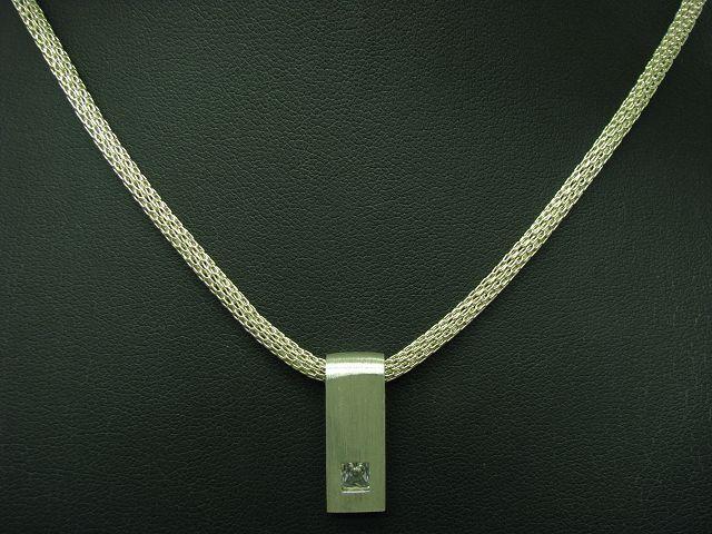 925 Sterling silver Kette & Anhänger mit Zirkonia Besatz   Echtsilver   46,0cm