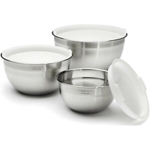 Cuisinart Stainless Steel 3 Piece Bowl Set - with Lids