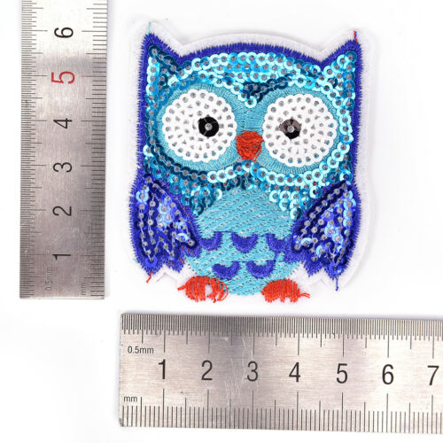 Owl Sequins Iron On Patches Sew-on Embroidered Motif Applique For Clothing KjETR