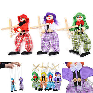 Pull-String-Puppet-Wooden-Marionette-Joint-Activity-Doll-Clown-Kids-Toy-HT-FT