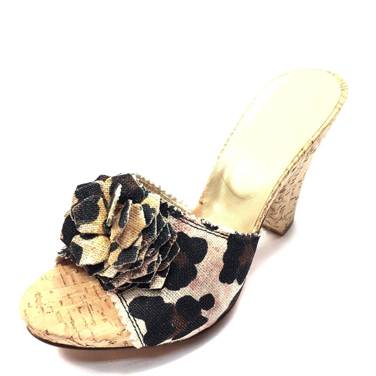 Stuart Weitzman Cheetah Print Open Toe Cork Wedge Sandals Women's Size 8.5 M