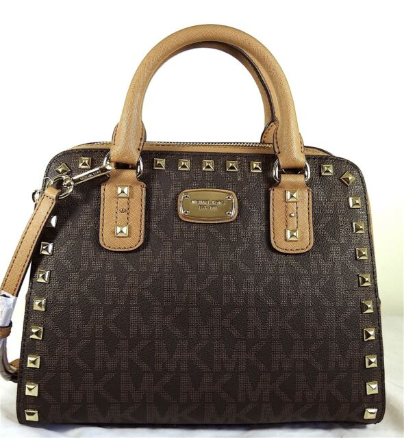 86370f183be8 Michael Kors Sandrine Stud Studded Large Satchel MK Logo Handbag Bag Brown