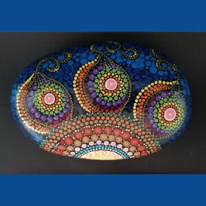 db7e743c8fad8 Details about Art. Natural Stone. Mandala. Dot Painting. Hand Painted.  Acrylic. Varnish