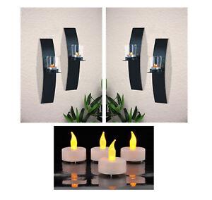 Wandkerzenhalter-LED-Teelichter-Wand-Kerzenhalter-Wandleuchter-Kerze-Metall