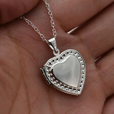 """925 Silver Carved Heart Locket Photo Frame Pendant 20"""" Chain Necklace Jewellery"""