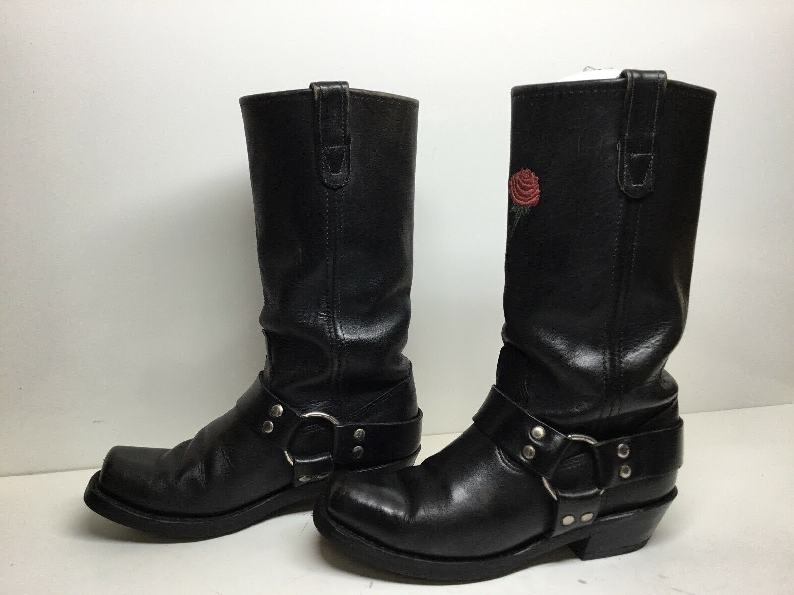 Damenschuhe DOUBLE H SQUARE TOE TOE TOE HARNESS MOTORCYCLE LEATHER BLACK Stiefel SIZE 7.5 M a7d856