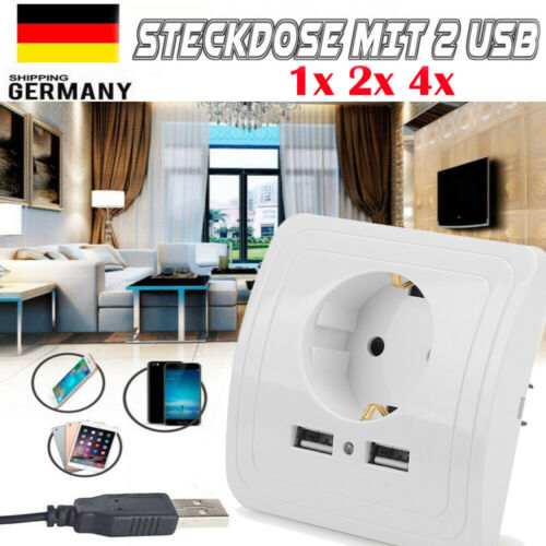 2A Wandsteckdose Unterputz Steckdose Schalter mit 2 USB Ladeanschlüsse 250V 16A